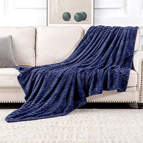 MIULEE Manta Blanket Terciopelo Grande para Sófas Mantilla de Franela para Siesta Suave Manta Corduroy para Cama Ligera y Cálida Felpa para Mascota Cama Habitacion 1 Pieza 125x150cm Azul Oscuro
