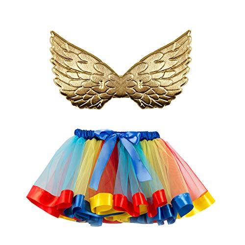 Lazzboy Mädchen Kinder Tutu Party Kleinkind Baby Kostüm Rock + Wing Set Tüllrock Engel Flügel Prinzessin Tütü Kleid Festival Karneval Weihnachten(Mehrfarbig,S(2-4 Years))