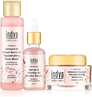 Indya Revitalizing AM Routine Kit   Oily to Normal Skin   Anti ageing   Gives skin a youthful glow   Fights free radicals...