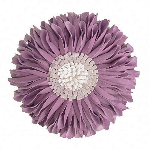 JWH 3D Sunflower Throw Pillow Hand Craft Accent Pillow Round Cushion Cover Decorative Pillowcase with Pillow Insert Home Sofa Bed Living Guest Room Decor Girl Gift 14 Inch / 35 cm Velvet Purple