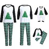 Navidad Familia Pijamas Ropa de Dormir Impresión del árbol de Navidad Camisas de Manga Larga Pantalones Largos Cuadros Verde 2 Piezas Ropa de Dormir para Bebés Mamá Papá Homewear