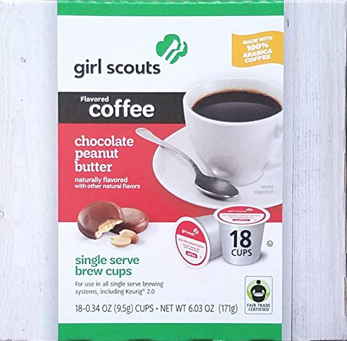 Girl Scouts Cookie Flavored Coffee Single Serve Brew Cups (Chocolate Peanut Butter)
