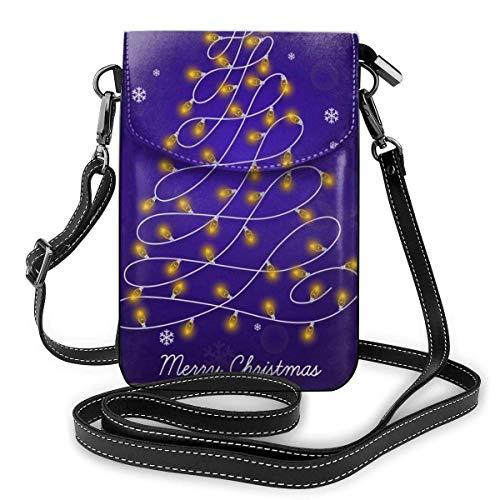 Ahdyr Borsa a tracolla piccola per ragazze Borsa in pelle PU Portafoglio per cellulare Lampadine per albero di Natale per donna