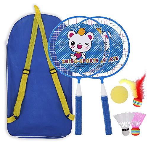 ZZICEN Kids Badminton Set  Toddler Toy Badminton Set for Kids  Includes 2 Kids Badminton Rackets(Blue)