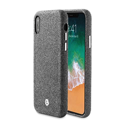 Compatible with iPhone X/XS Case, Cobble Pro Premium Handcrafted Soft Touch Fabric Back Case Cover Slim Fit Protective Phone Case [Support Wireless Charging] Compatible with Apple iPhone Xs/X, Gray