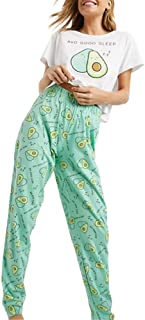 Lveberw Avocado Pajamas Set Womens Cute Pjs, Sleepwear Joggers Sweatpants Long Pants Short Sleeves Pj Set