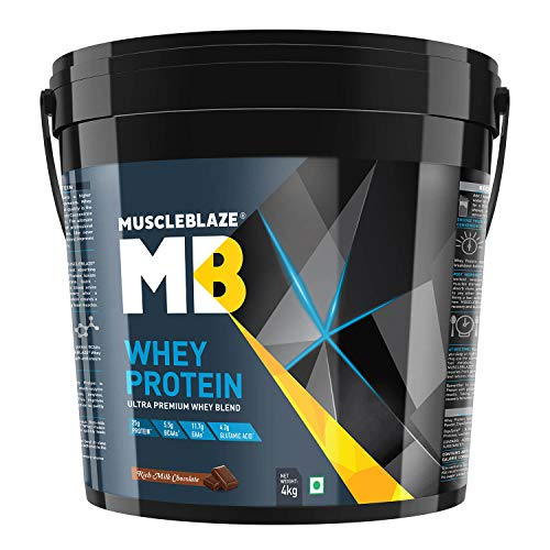 Muscleblaze 100% Whey Protein Supplement Powder - 4 kg / 8.8 lb (Rich Milk Chocolate)