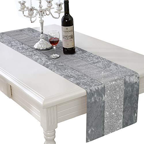 HALOViE 13 x 82 Inch Table Runner, Rectangular Coffee Dining Table Cloth Dresser Runners with Diamante Strip for Home Kitchen Party Wedding Decorations Gray