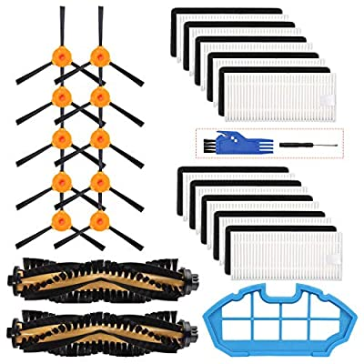 Smilyan Replacement Parts for Ecovacs Deebot N79 N79s DN622 500 N79w N79se Robotic Vacuum Cleaner, Accessories Kit Includes 2 Main Brushes 1 Primary Filter 10 HEPA Filters 10 Side Brushes