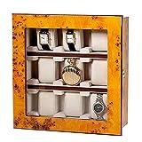 Atractiva vitrina para 9 relojes, para colocar o colgar, aspecto de madera de Ulmen, puerta de cristal real (cerrada), dimensiones: 28,5 x 29,2 x 10,3 cm.