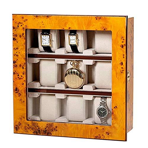 Attraktive Vitrine für 9 Uhren – Zum Aufstellen oder Aufhängen – Ulmenholzoptik – Echtglastür (abschließbar) – Maße: 28,5 x 29,2 x 10,3 cm