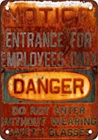 Shimaier 壁の装飾 ブリキ 看板メタルサイン Danger Entrance for Employees Only ウォールアート バー カフェ 30×40cm ヴィンテージ風 メタルプレート