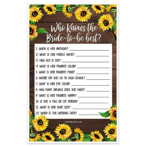 Faux Wood and Sunflowers Bridal Shower Game - Who Knows the Bride-to-be Best - Set of 30