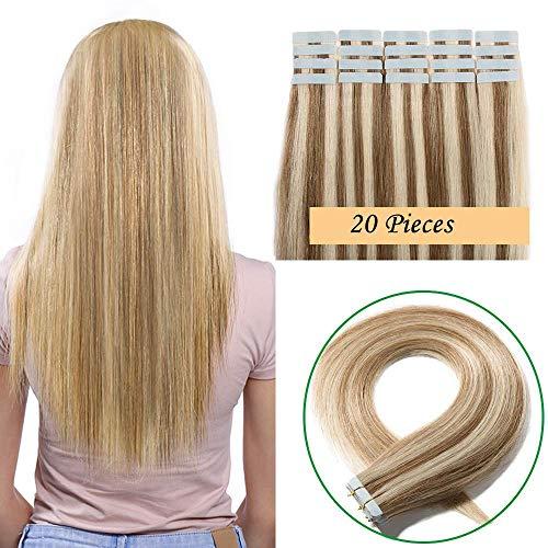 SEGO Extensions Adhesives Cheveux Naturels Bande Adhésif - 50CM 18P613#Ash Blond & Blond Blanchi 20 PCS 50g (2.5g/Pièces) - Tie and Dye Ombre