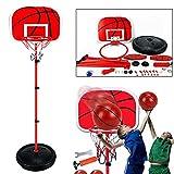 XRDSHY Canasta Baloncesto Infantil Altura Opcional 120/150/170/200cm, Portátiles Tableros De Baloncesto,Al Aire Libre Y Interior con Bomba De Aire Y Bola,Red-1.2m(63-120cm)