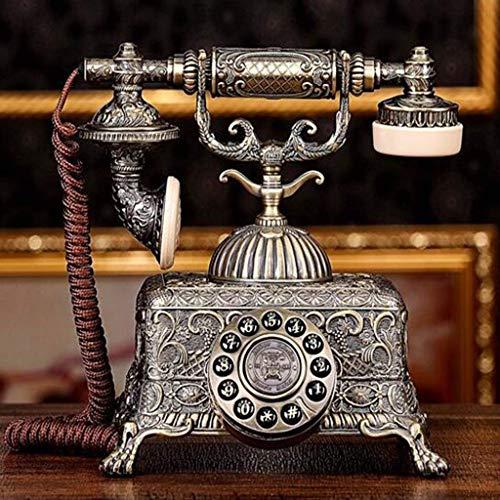 FEE-ZC Teléfono Retro Tipo botón, Cuerpo de aleación de Zinc Teléfono Antiguo Sala de Estar Decoración del hogar Teléfono Fijo Vintage