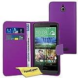 FoneExpert® Wallet Hülle Flip Cover Hüllen Etui Ledertasche Lederhülle Premium Schutzhülle für HTC Desire 510 + Bildschirmschutzfolie (Wallet Lila)