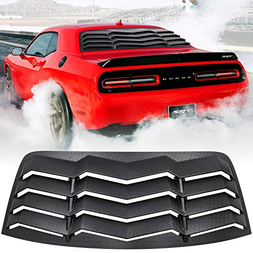 E-cowlboy Rear Window Louver Windshield Sun Shade Cover for Dodge Challenger 2008-2019 2020 2021 in GT Lambo Style Custom Fit All Weather ABS (Matte Black)