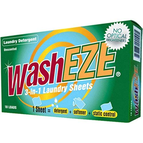 WashEZE 3-in-1 Laundry Detergent Sheets 10 Count, No Scent Portable Individual Packages For Easy Travel. Space Saving and More Efficient than pods, pacs, liquids or powders.
