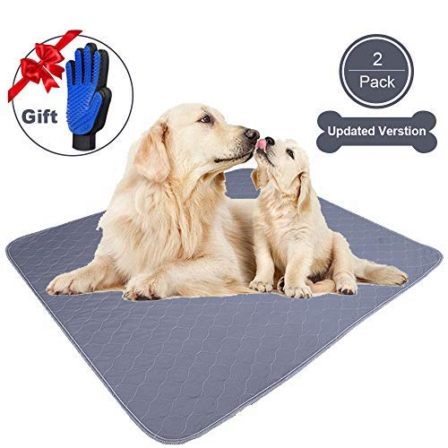 JdPet Washable Dog Pee Pads+Free Grooming Gloves - Reusable Whelping Pads,Waterproof Dog Mat Non-Slip Puppy Potty Training Pads for Dogs, Cats, Bunny