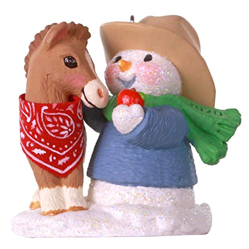 Hallmark Keepsake Christmas Ornament 2020 Year-Dated, Snow Buddies Cowboy Snowman and Horse