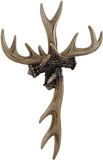 Rustic Deer Antler Wall Cross Lodge Cabin Decor