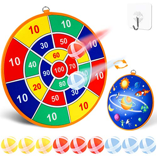 SHAALEK Dart Board for Kids - Boys Girls Toy Gifts, Safe Dartboard Games with 9 Sticky Balls-3-Year-Old and Up