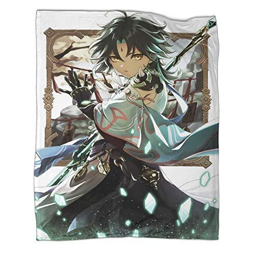Perfekt för att lägga på vilken säng som helst supermjuk säng/överkast filt Genshin Impact Games roller Xiao affisch enkel skötsel alla årstider sängfilt 130 x 180 cm (50 x 70 tum)