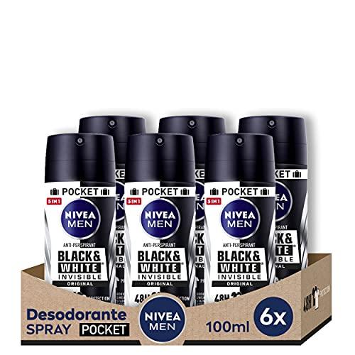 NIVEA MEN Black & White Invisible Spray Pocket, desodorante antimanchas con protección 48 h, desodorante antitranspirante para cuidado masculino - pack de 6 x 100 ml