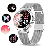 Smart Watch for Women,Elegant&High-end Sylish Stainless Steel IP68 Waterproof Smartwatch Fitness Tracker with Heart Rate Sleep Monitoring Calories Pedometer Activity Tracker,Gift for Lady Girls