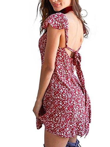 Simplee Apparel Women's Boho Floral Print Backless Short Beach Dress Sundress Red