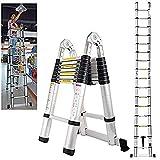 5M Folding Telescopic Multi Purpose Ladder 8X2 Steps Climb Extension Herringbone 2.5+2.5m Home Loft Portable Light Weight DIY Attic Ladder, UK Stock