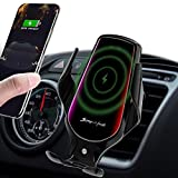 Wireless Car Charger, 10W Qi Auto-Clamping Car Charger Mount, Air Vent Dashboard Fast Charging Car Charger Holder Compatible iPhone 12/12Pro/SE/11/11Pro/11ProMax/XsMAX/XS/XR/X/8/8+, Samsung S10/S9/S8