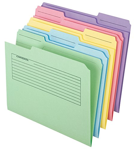 Pendaflex Printed Notes File Folders, 1/3 Cut, Top Tab, Letter Size, Assorted Colors, 30 per pack (45269)