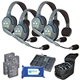 Eartec UL4S Ultralite Full Duplex Wireless Headset Communication for 4 Users - 4 Single Ear Headsets with Solid Signal Cleaning Wipes Bundle