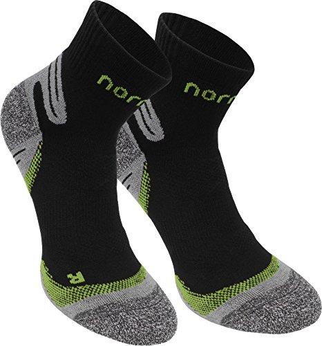 normani 3 Paar Kurzschaft-Sportsocken mit verstärkter Sohle Farbe Schwarz/Grün Größe 39/42