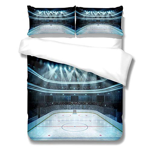 ZGSSSSS Duvet Cover Sets Ice Hockey Rink Single Bedding Sets Microfiber Polyester with Pillow Case Thermal Fluffy Warm Cosy for Teen Boys