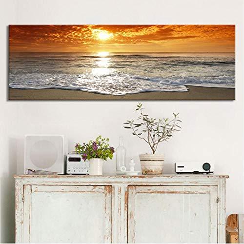 TBWPTS Canvas Schilderij Modern landschap Posters Prints Wall Art Canvas schilderij Zonsopgang Landschap Op zee Decoratieve schilderijen Woonkamer Decor