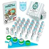 Russian Piping Tips Set - 54 pcs Cake Cupcake Decorating Supplies Kit - 26 Icing Frosting Nozzles (2 Leaf Tips) - 24 Baking Pastry Bags - 3 Couplers - Silicone Bag - Gift Box nail tips Jan, 2021