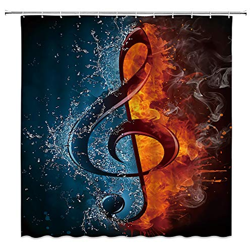 AMHNF Creative Music Shower Curtain Musical Notes Fire Ice Personality Cool Black Shower Curtains Bathroom Decor Curtain 70x70 Inches with Hooks