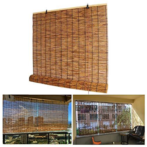 Filit Persianas Enrollables De Bambú para Exteriores, Persianas De Caña para Ventanas/Patio/Balcón/Pérgola,Cortinas Opacas,Fáciles De Instalar,W110xH120cm/43x47in