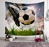 タペストリー 3Dプリントされたサッカーバスケットタペストリー長方形の家の装飾の壁掛け若者の寝室の壁画 長さ6メートルのLED星ライトストリップ付き D 150*230CM
