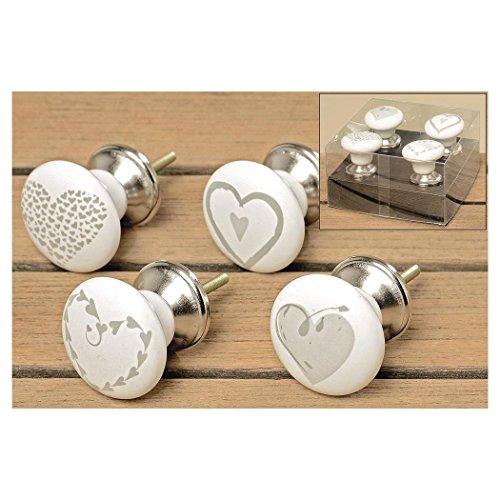 BOLTZE Möbelgriff Hearts 4er Set 4x6cm Keramik