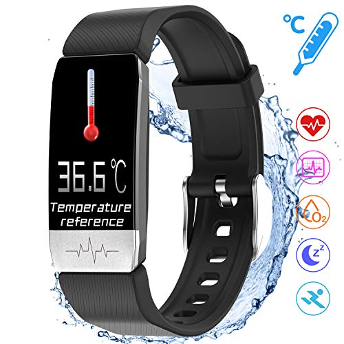 Braccialetto Fitness, smartwatch impermeabile IP68, bracciale fitness con cardiofrequenzimetro 1,14 pollici, schermo a colori, tracker di attività e temperatura, misurazioni per uomo e donna, bambini
