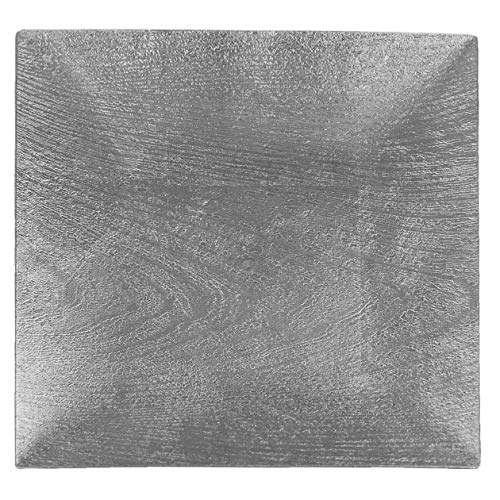 Tiger Chef Silver Charger Plates - Square Plate Chargers for Dinner Plates - Wedding Décor Placemats Wooden Texture Set of 12