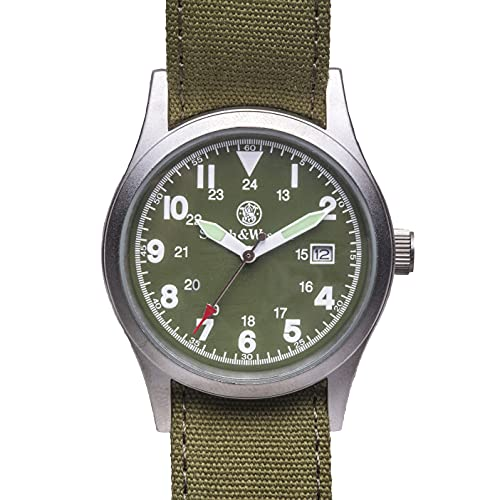 Smith & Wesson Military Watch, 3ATM with 3 Interchangeable Canvas Straps, Water Resistant, 38mm
