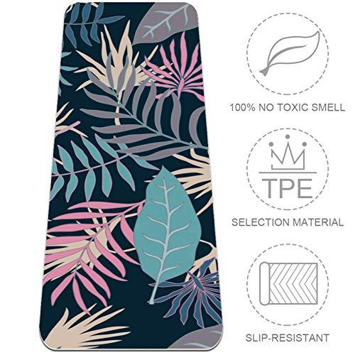 HANDIYA Tropical met palmbladeren yogamat, non-slip trainingsmat gemaakt van premium materiaal niet-giftige high-performance grip, 24x72 in-61x382 cm.