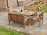 Staffordshire- Conjunto de muebles de madera para jardín y terraza, mesa de 1,8 metros, 2 bancos y 2 sillas