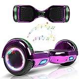 Wind Way Hoverboard 6,5' - Moteur 700W - Parleur Bluetooth - Self Balancing Scooter Tout Terrain Adulte - Skateboard Roues LED - Gyropode Meilleur Qualité - Enfant SmartBoard Pas Cher - Violet Chromé
