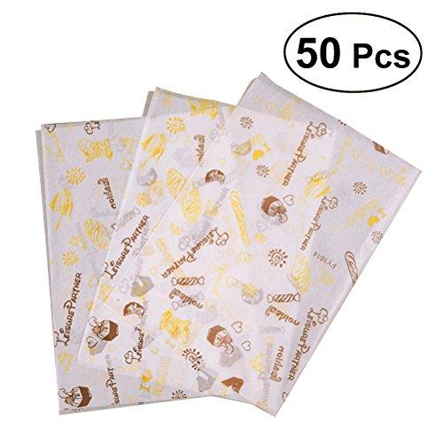 BESTOMZ 50 feuilles alimentaire verpackungs papiere Fett beständiges Sandwich Hamburger Emballage Impression Papier (1405)
